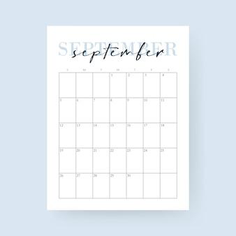 Mês de setembro calendário de 2021. layout para 2021 anos. semana começa no domingo.