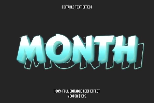 Mês editável com efeito de texto estilo néon cor ciano