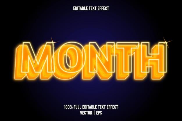 Mês editável com efeito de texto estilo neon