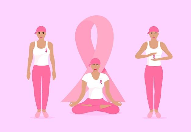 Mês nacional de conscientização do câncer de mama. mulheres jovens em lenços e com fitas cor de rosa no peito.