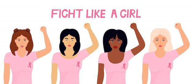 Mês nacional de conscientização do câncer de mama. um grupo de mulheres multiétnicas com uma fita rosa ergueu os punhos. banner lute como uma garota.