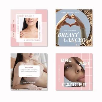 Mês plano de conscientização do câncer de mama coleção de postagens do instagram com foto