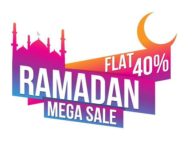 Mês sagrado islâmico, ramadan mega venda de papel ou tag design com mesquita e lua crescente.