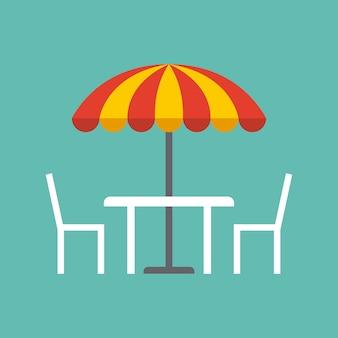 Mesa, cadeiras e guarda-sol