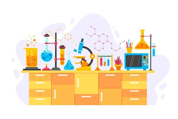 Mesa científica com objetos de química