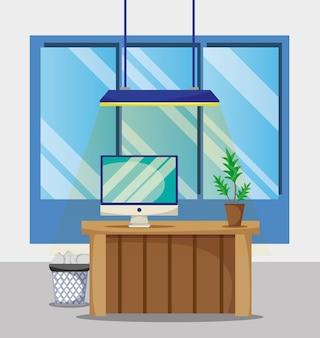 Mesa com acessórios planos de escritório para trabalhar ilustração vetorial