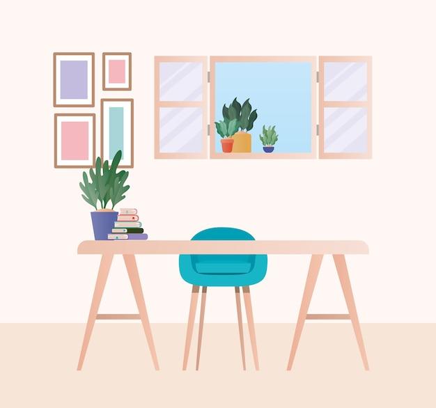 Mesa com cadeira azul e plantas no design do quarto, decoração para o lar, sala de estar interior, apartamento e tema residencial