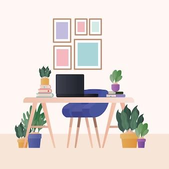 Mesa com cadeira azul, laptop e plantas no design do quarto, decoração da casa, sala de estar interior, apartamento e tema residencial