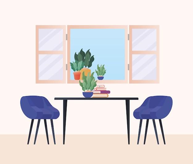 Mesa com cadeiras na frente do design da janela, decoração da sala de casa, apartamento de construção de interior e tema residencial