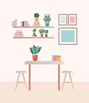 Mesa com cadeiras na frente do design das prateleiras, decoração da sala de casa, sala de estar interior, apartamento e tema residencial