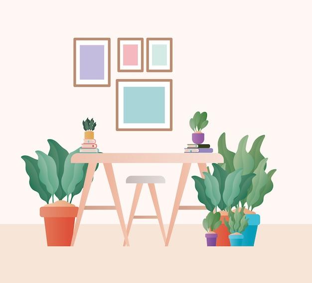 Mesa com cadeiras na frente do design de quadros, decoração do quarto home, sala de estar interior apartamento e tema residencial