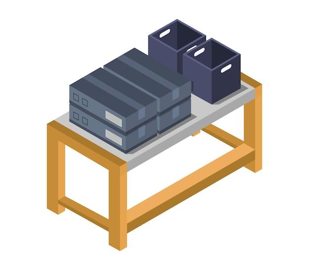 Mesa com caixas isométricas
