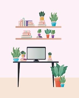 Mesa com computador e plantas no design do quarto, decoração de interiores, sala de estar, apartamento e tema residencial