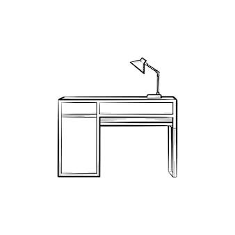 Mesa com ícone de doodle de contorno desenhado de mão de lâmpada. móveis de escritório - mesa com ilustração de desenho vetorial de lâmpada para impressão, web, mobile e infográficos isolados no fundo branco.
