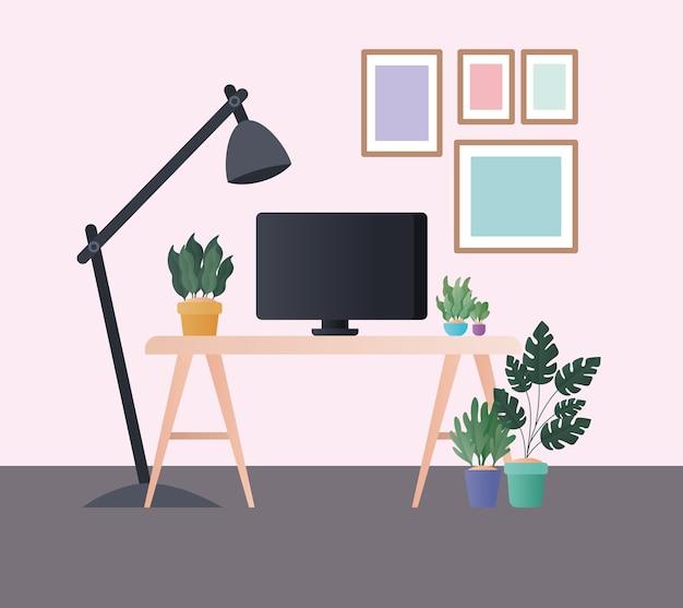 Mesa com lâmpada de computador e plantas no design do quarto, decoração do lar, sala de estar interior, apartamento e tema residencial