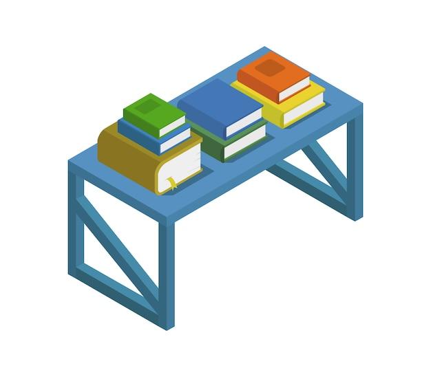 Mesa com livros isométricos