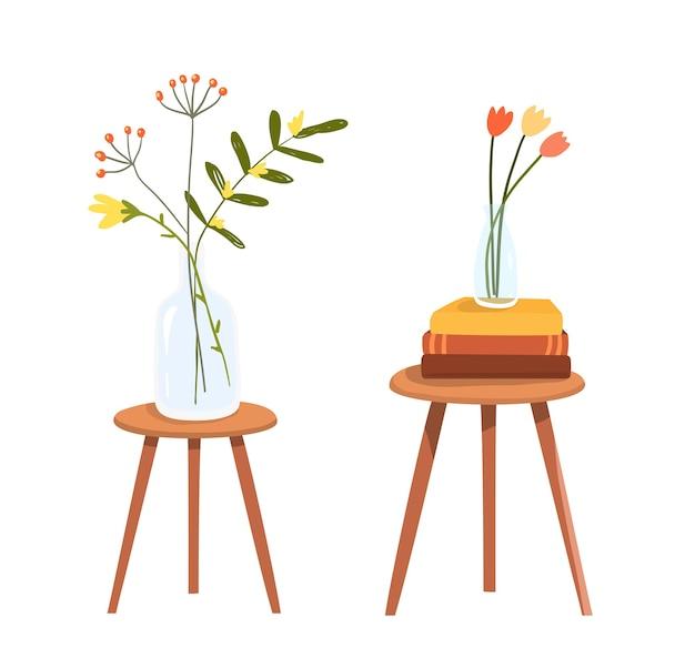 Mesa com pilha de livros e flores em clipart de vetor plana mão desenhada.