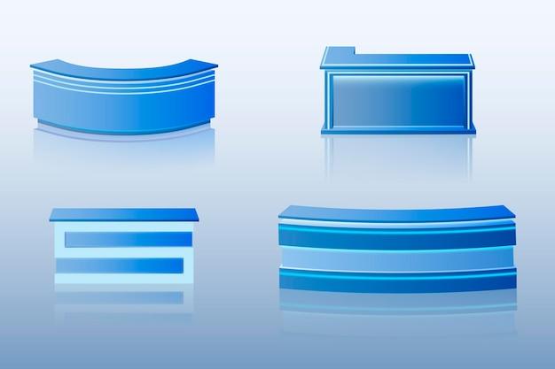 Mesa de balcão de recepção realista em coleção azul
