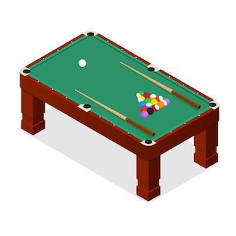 Mesa de bilhar com bolas e vista isométrica de taco.
