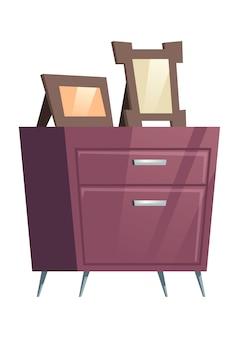 Mesa de cabeceira de mobília do quarto com molduras
