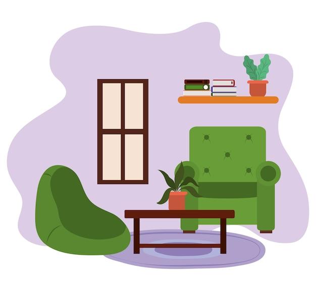 Mesa de cadeiras de sala de estar com livros em vasos de plantas e ilustração de janela