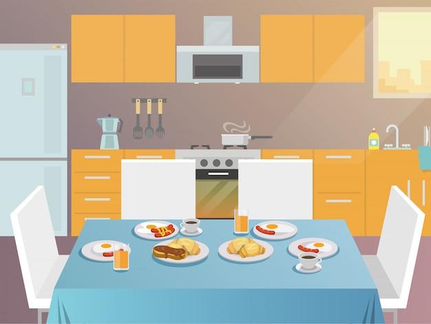 Mesa de café da manhã plana