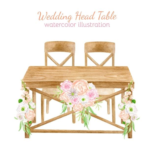 Mesa de casamento em aquarela de madeira com arranjo de flores ilustração de esboço de decoração de casamento