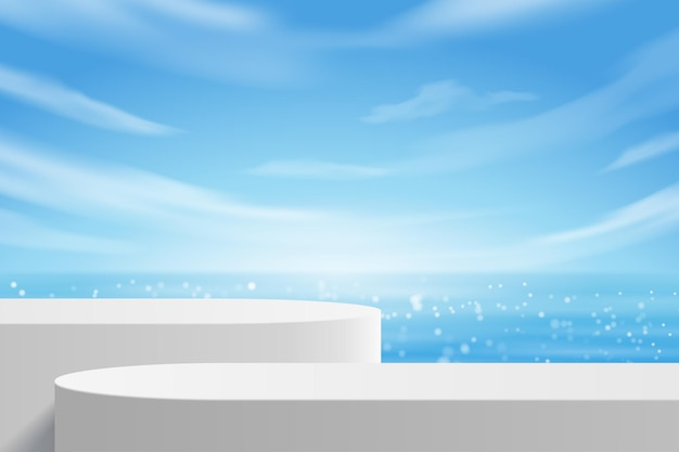 Mesa de cor branca moderna vazia para exposição de produtos em pedestal, praia de verão com mar azul