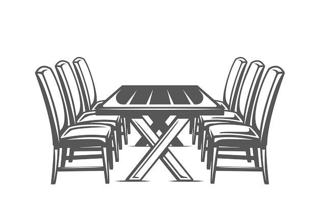 Mesa de cozinha isolada em fundo branco