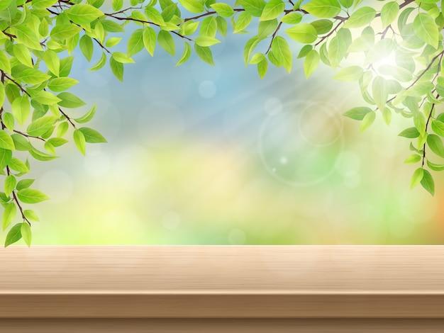 Mesa de deck de madeira com folhas verdes