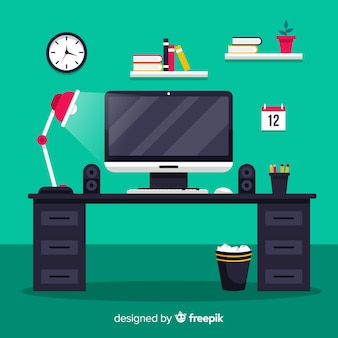 Mesa de escritório colorida com design plano