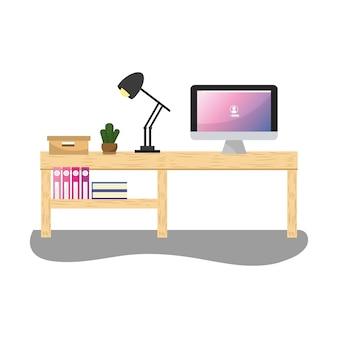 Mesa de escritório com computador e lâmpada com livros
