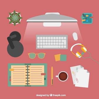 Mesa de escritório com computador