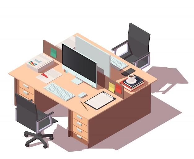 Mesa de escritório com dois locais de trabalho