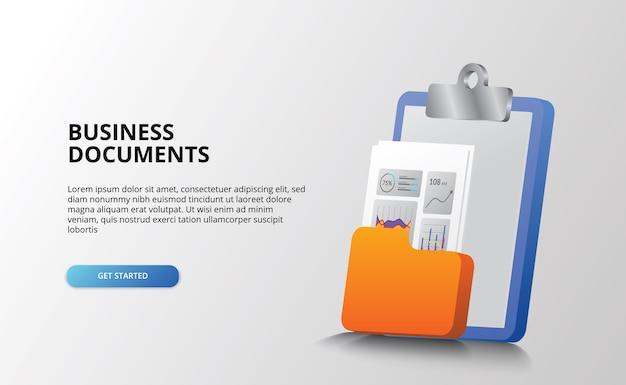 Mesa de escritório de documentos de negócios com conceito de ícone