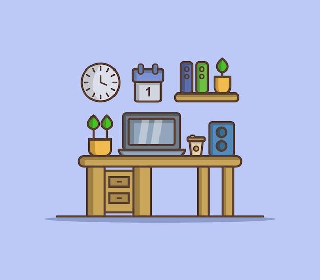 Mesa de escritório ilustrada