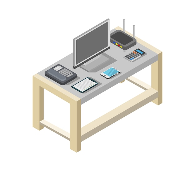 Mesa de escritório isométrica