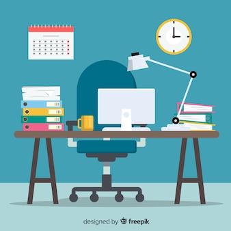 Mesa de escritório moderna com design plano
