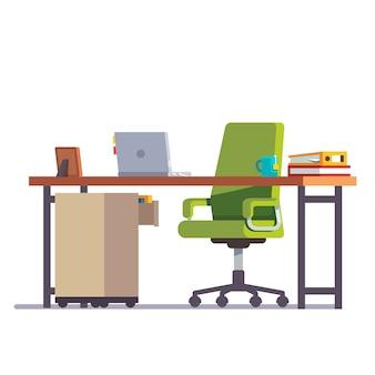 Mesa de escritório ou de escritório com cadeira de rodízios
