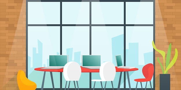 Mesa de escritório para planejamento e trabalho da equipe na sala de reuniões. conceito de espaço de coworking. ilustração dos desenhos animados.
