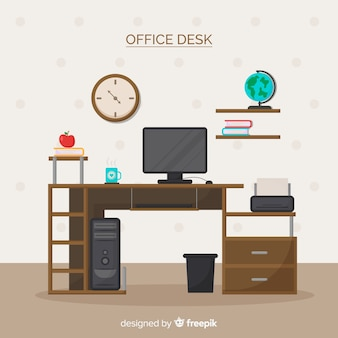 Mesa de escritório profissional com design plano