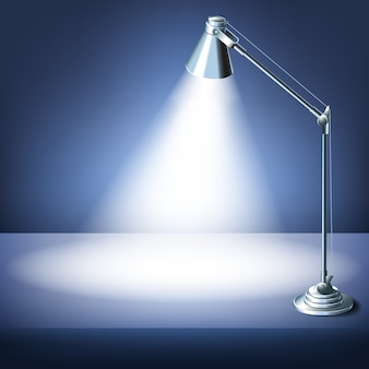 Mesa de escritório realista com uma lâmpada de mesa.