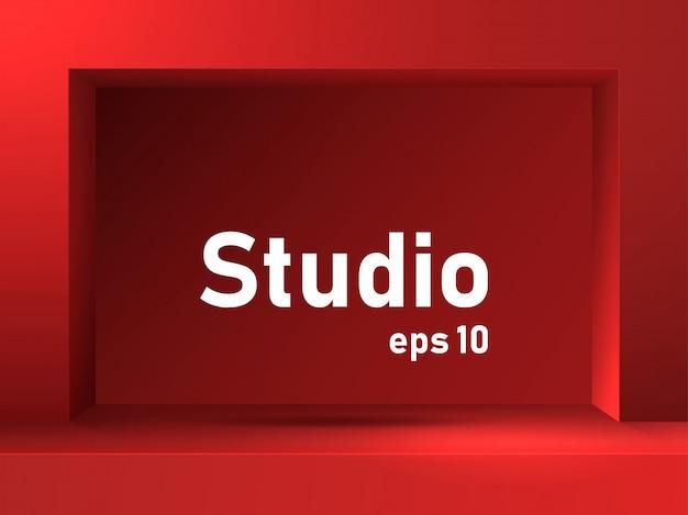 Mesa de estúdio vermelho.