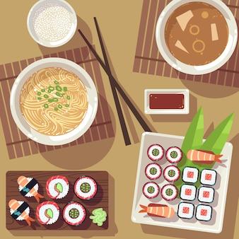 Mesa de jantar com comida japonesa vista superior