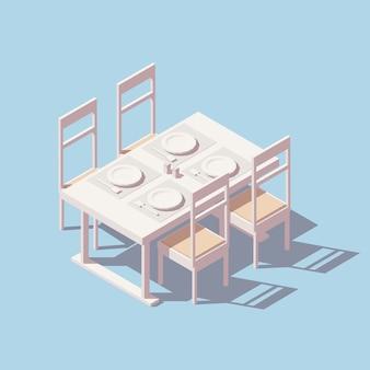 Mesa de jantar isométrica