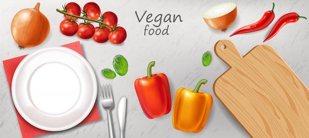 Mesa de jantar vegetariana