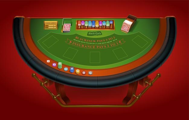 Mesa de jogo para jogar blackjack vista de cima isolada