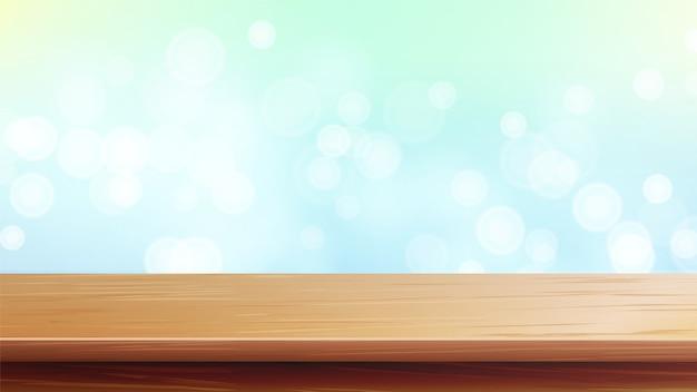 Mesa de madeira com luz solar da manhã