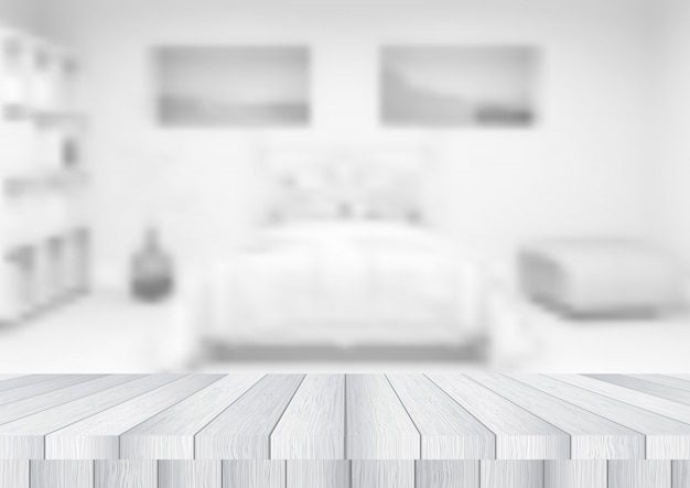 Mesa de madeira com vista para um quarto desfocado