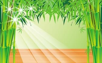 Mesa de madeira e luz através da folha